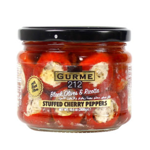 Gurme212 Ricotta Cheese Stuffed Cherry Peppers with black olives 300cc Jar