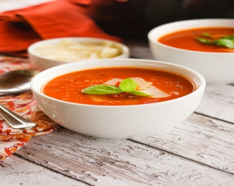 Creamy Sun-Dried Tomato Soup With Cheese Panini