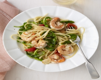 Shrimp, Cherry Pepper & Arugula Linguine